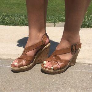Brown wedged sandals